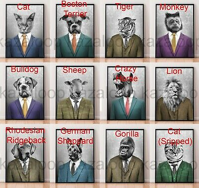 Animals In Suits Fun Cute Art Prints Unframed Print Poster Wall Decor Gift  • 4.95£