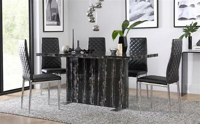 Magnus & Renzo Marble Dining Room Table And 4 6 Chairs Set - Black (Chrome Legs) • 499.99£