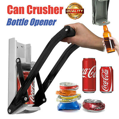 Wall Mounted 2 In 1 Beer Tin Can Crusher And Bottle Opener Heavy Duty 16oz 500ml • 9.98£