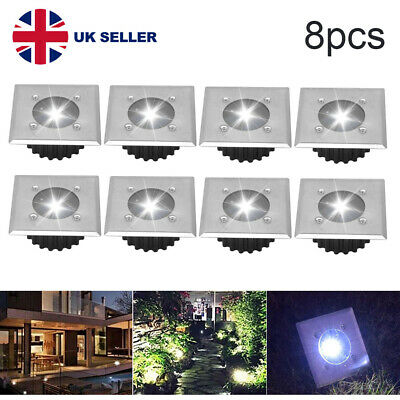 8X Decking Square Deck Lights LED Garden Lawn Path Lamp Solar Power Ground Light • 15.99£