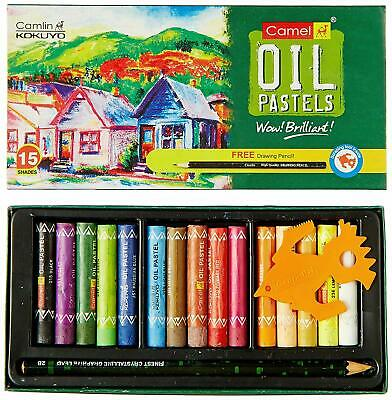 Camlin Kokuyo Oil Pastel Free 1 Drawing Smooth Pencil 15 Assorted Shades • 11£
