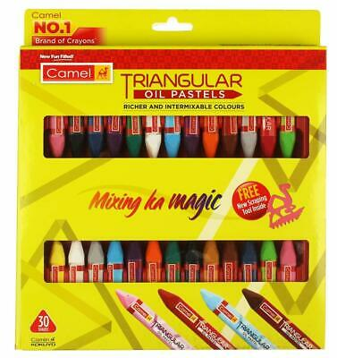 Camel Triangular Oil Pastels 30 Shades Bright And Smooth Multicolor • 11£