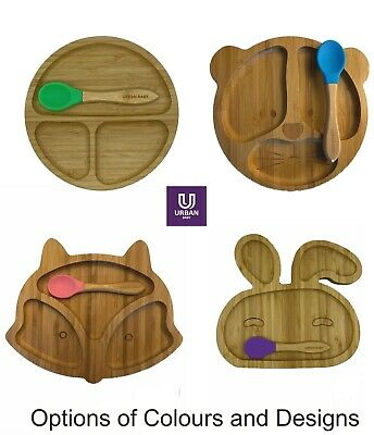 £12.99 • Buy Baby Bamboo Suction Plate Bowl Spoon Set Feeding Suction Plate Stay Put Feeding