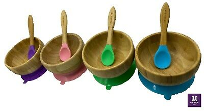 £11.99 • Buy Baby Bamboo Suction Bowl Spoon Set Feeding Suction Plate Stay Put Feeding