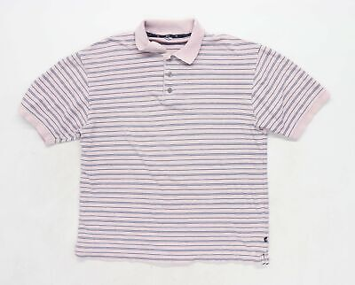 Marks & Spencer Mens Size M Cotton Striped Pink Polo Shirt • 5£