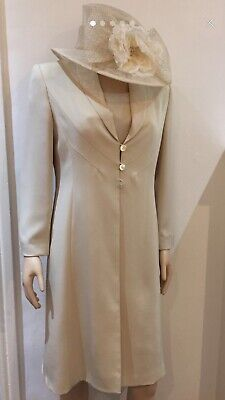 Cream Jacques Vert Jacket And Dress Set Size 10/12 With Marching Hat From Next • 19.99£