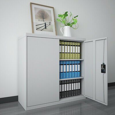 Metal Steel File Lockable Storage Filling Cabinet Office Document Organizer 90CM • 84.99£