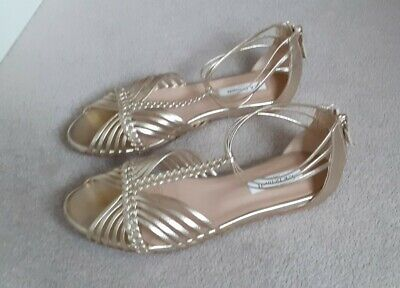 LK Bennett Pale Gold Shiny Leather Gladiator Sandals. Size 5UK/38 Exc Cond & Box • 16£