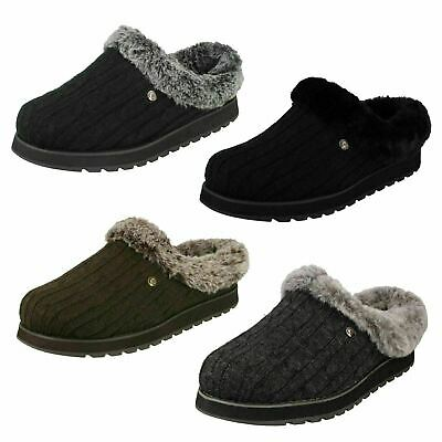 Ladies Skechers Memory Foam Slip On Mule Slippers Ice Angel • 39£