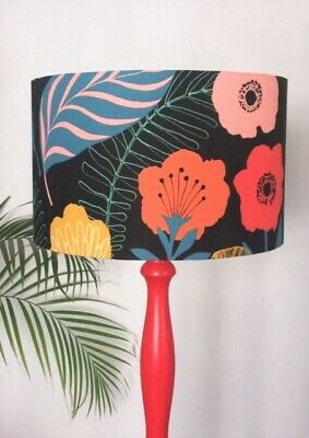 Iliv BLACK FLORAL LAMPSHADE Red Pink Orange Flowers Botanicals,40cm Floor Lamp • 55.99£