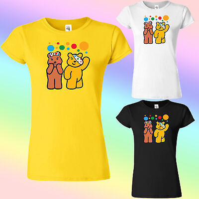 £9.99 • Buy Spotty Pudsey Bear Ladies T Shirts Children In Need Adult Dotty Spot Top Shirt