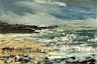 ORIGINAL SIGNED IMPRESSIONIST ABSTRACT ROCKS SURF SEA OIL PAINTING ON Canvas • 65£