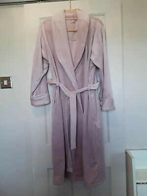 Ladies Camille Velour Dressing Gown Size 10/12 Light Pink • 0.99£