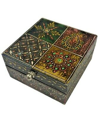 Indian Wooden Jewellery Box Chest Drawers Storage Hand Crafted Painted Bohemian • 13.99£