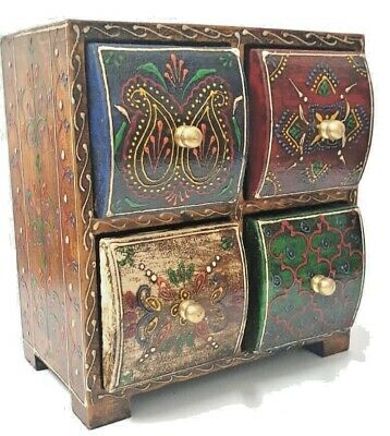 Indian Wooden Jewellery Box Chest Four Drawers Storage Crafted Painted Bohemian • 24.99£