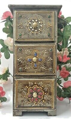 Indian Wooden Jewellery Box Chest Three 3 Drawers Storage Tower Painted Bohemian • 24.99£