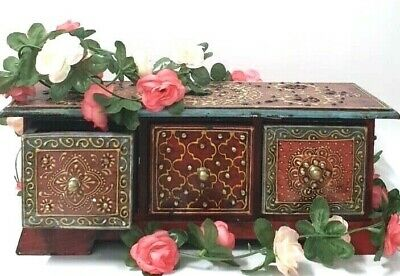 Indian Wooden Jewellery Box Chest Three Drawers Storage Crafted Painted Bohemian • 29.99£