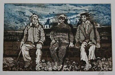 Three Figures On A Bench By Pamela Guille Arca • 2£