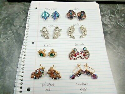 $ CDN14.03 • Buy 8 Pair Vintage Fabulous Rhinestone Signed Costume Jewelry Clip Earrings Nice Lot