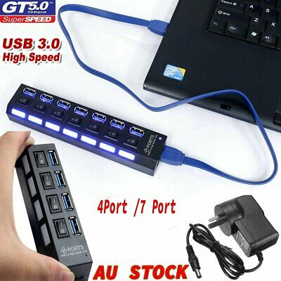 AU22.70 • Buy 4/ 7 Port USB 3.0 HUB High Speed Multi Splitter Expansion Power Adapter For PC