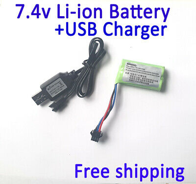 AU10.90 • Buy 7.4v Rechargeable Li-ion Battery 3 Pins And USB Charger For RC Toys Car Boat