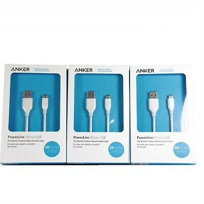 AU19.95 • Buy 3x ANKER POWERLINE MICRO USB CABLE DURABLE HIGH-SPEED CHARGING 90CM WHT A8132H21