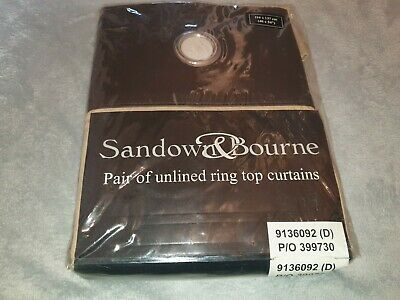Sandown Bourne Unlined Ring Top Curtains 116x137cm Beige And Brown BNWT • 12.99£
