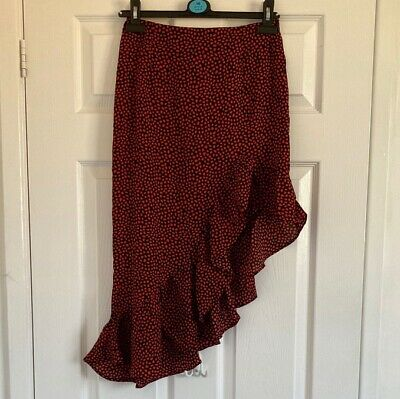 In The Style Red And Black Polka Dot Midi Skirt Size 8 • 1.99£