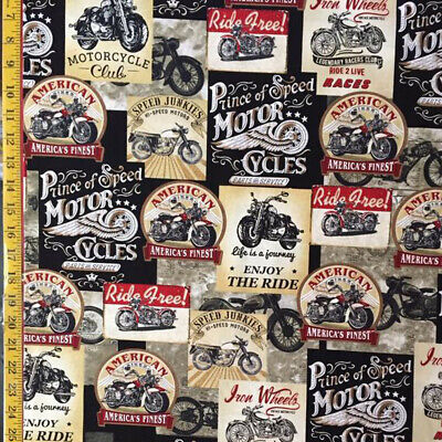 100% Cotton Fabric Timeless Treasures Vintage Motorcycles Motorbikes Signs • 9.25£
