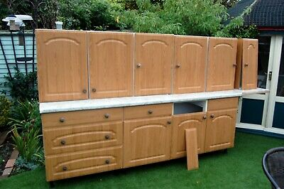 Used Kitchen Units B&Q Base & Wall Units Complete With Cathedral Style Doors • 45£