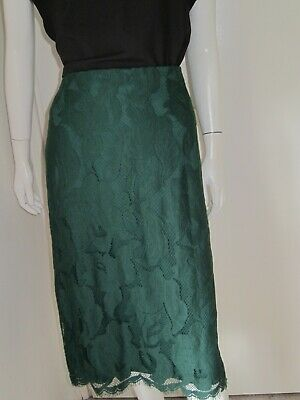 BNWT Size UK 20 Marks & Spencer Per Una Green Lace A Line Skirt Lined Midi Net • 12.99£