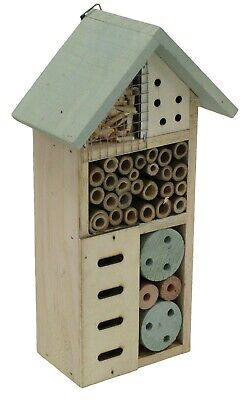 £9.99 • Buy Insect Hotel Bee Bug House Hotel Wood Roof Attract Insects & Bees To Garden