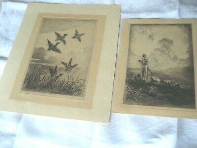 Pair Of Signed Etchings By Cedric Hodgson Baron Of Rye, Early Morning & Evening  • 15£
