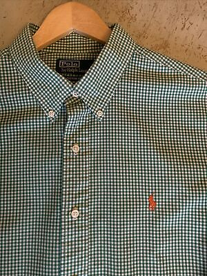 Classic POLO By RALPH LAUREN Button Down Collar, Gingham Check Casuals Shirt XXL • 5.99£