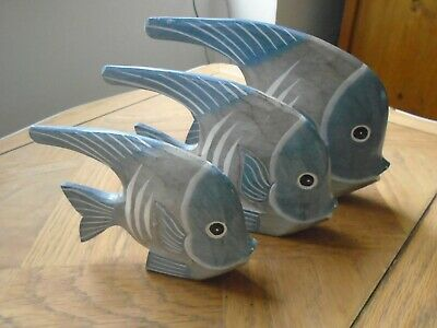 SET OF THREE FAIRTRADE WOODEN FISH FIGURES ORNAMENTS SEASIDE BEACH Blue Large • 15.95£