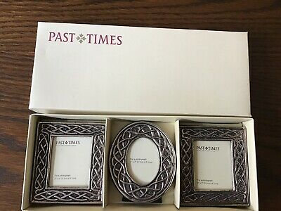 Past Times Set Of 3 Celtic Embossed Photo Frames Boxed VGC • 8.99£