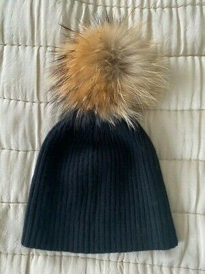 N Peal Black Cashmere Hat With Detachable Raccoon Fur Pom Pom Brand New Rrp £119 • 51£