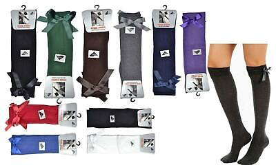 Girls Bow Knee High Socks School Socks With Satin Bow All Size 1 Pair & 2 Pairs  • 4.48£