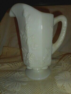 $8.95 • Buy Vintage Westmoreland Footed Milk Glass Pitcher 9 Paneled Grape And Vine Pattern