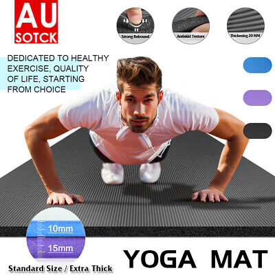 AU18.89 • Buy 15MM Yoga Mat Pad NBR Nonslip Exercise Fitness Pilate Gym Sport LiveDurable AU