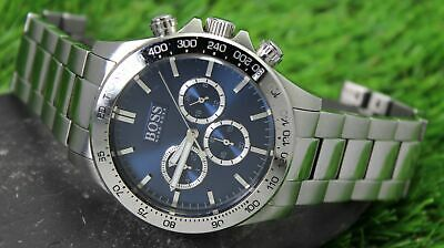 HUGO BOSS Men's Stainless Steel Tachymeter Chronograph Quartz Watch • 55£