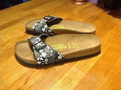 Birkenstock Papillio Sandals Size 39/5.5 Black And White Excellent Condition • 9.50£