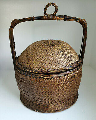 $ CDN52.86 • Buy Antique Vintage Woven  Basket With Handle 15.5  Tall, 12  Diameter