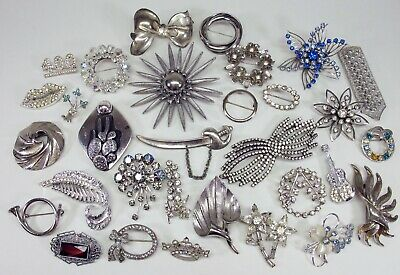 $ CDN7.88 • Buy Vintage Unsigned Silver Tone Pins Brooches Lot - Rhinestone Bow Flowers Cactus