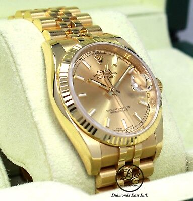 $ CDN23354.61 • Buy Rolex Datejust 116238 18K Yellow Gold Champagne Stick Dial Watch BOX/PAPERS MINT