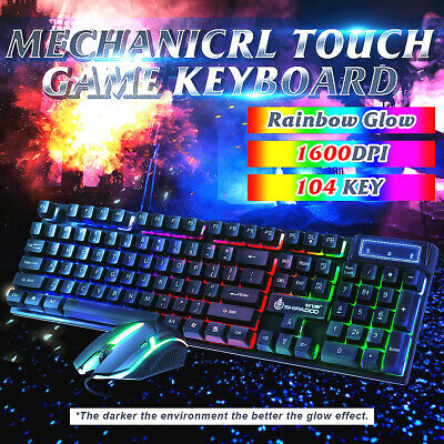 AU21.99 • Buy Gaming Keyboard Mouse Combo Backlit Rainbow LED Wired USB For Laptop Computer AU