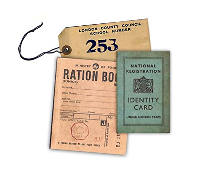 WW2 Replica Ration Book, Evacuee Tag And Identity Card By Memorabilia Pack • 4.99£