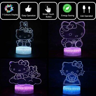 Hello Kitty 3D Visual Night Light 7 Color LED Desk Table Lamp Fun Kids Xmas Gift • 9.89£