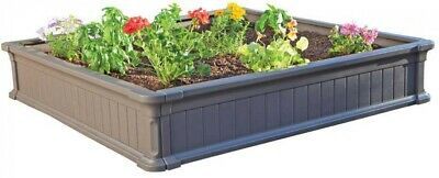 Lifetime Raised Garden Bed Box Square Kids Sandbox Outdoor Play 4x4 Ft Plastic • 80.11£
