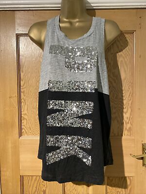 Pink T Shirt Grey Silver Sequin Logo Vest Top Y Back Size Small / Petit • 5.99£